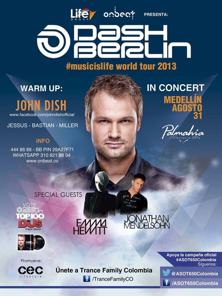 Flyer para concierto - DISCOTECA PALMAHIA. Dj DASH BERLIN. cliente: Cec Comunidad Electrónica Medellín - 2013.