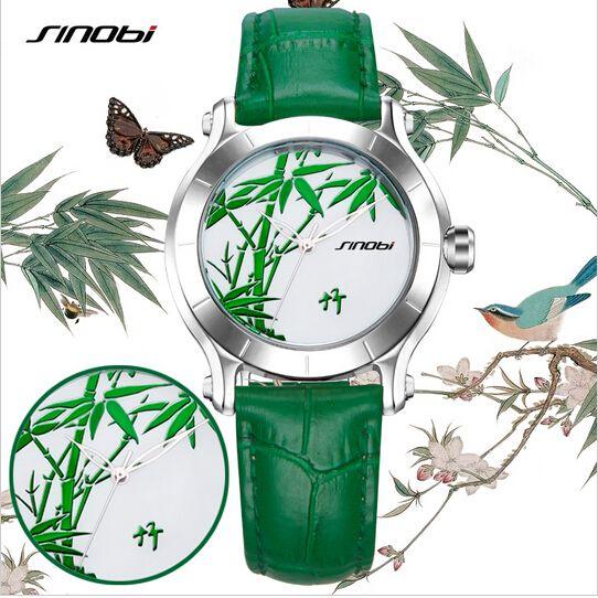 SINOBI Fashion Chinese Style Green Bamboo Watch Women Watches Leather Strap Ladies Watch Waterproof Quartz Watch Hour Clock
