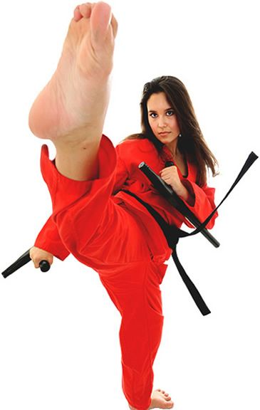 Tonfa girl in red kicking with Tonfas