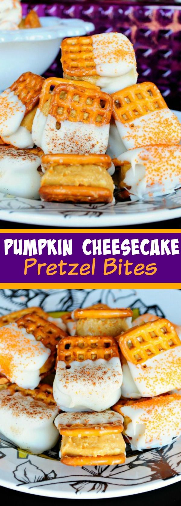 Pumpkin Cheesecake Pretzel Bites - A creamy pumpkin, biscoff, cheesecake mixture…