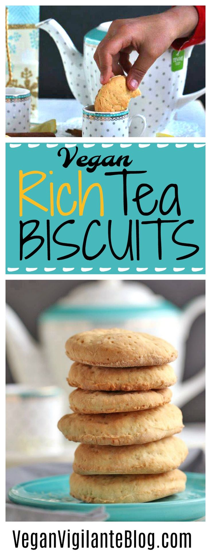 A little salty with a hint of sweet, these Vegan Rich Tea Biscuits require only 6 ingredients and 20 minutes to make; the the perfect dunkable snack to go with your afternoon tea.