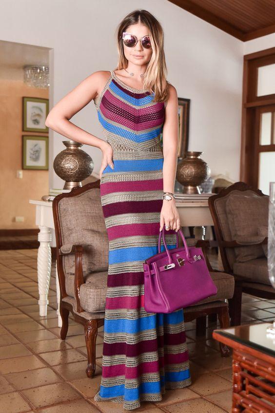 Vestido Tricô Tropical Longo Cinza   Galeria Tricot - Galeria Tricot: