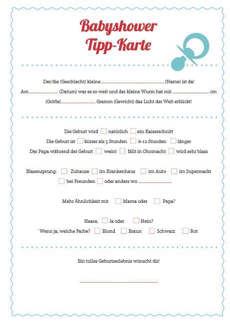 Tipps and Ideen für eine Babyparty babyshower Tippkarte