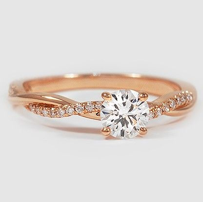 diamonds and a ribbon of rose gold