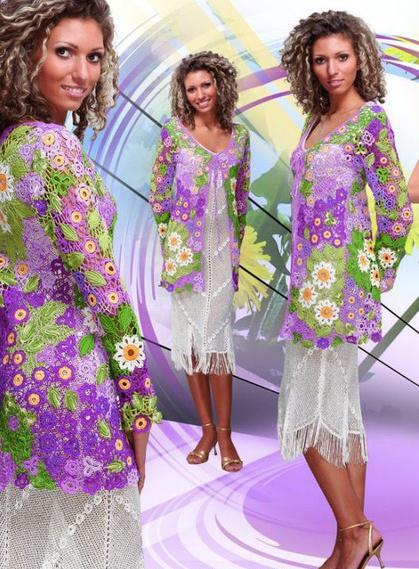 crochet Duplet magazine Russian freeform irish crochet color daisies