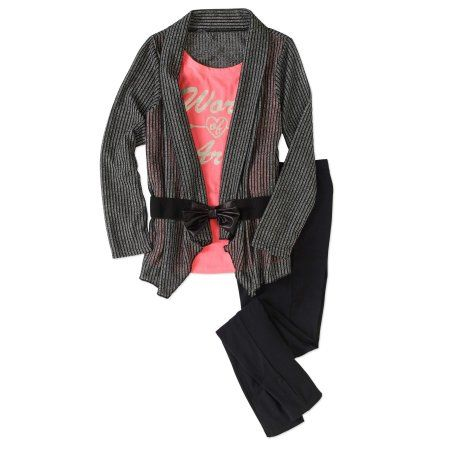Kensie Girls' Belted Sweater 2fer with Leggings Outfit Set, Size: 5-6, Black