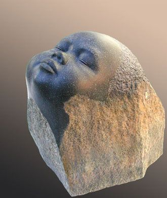 Baby Buddha basalt beeldhouwer: Georg Schmerholz