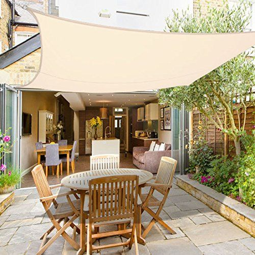 Great Greenbay Sun Shade Sail Garden Patio Party Sunscreen Awning Canopy 98% UV  Block Square Cream