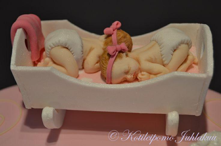 Twin girls' Christening cake decoration