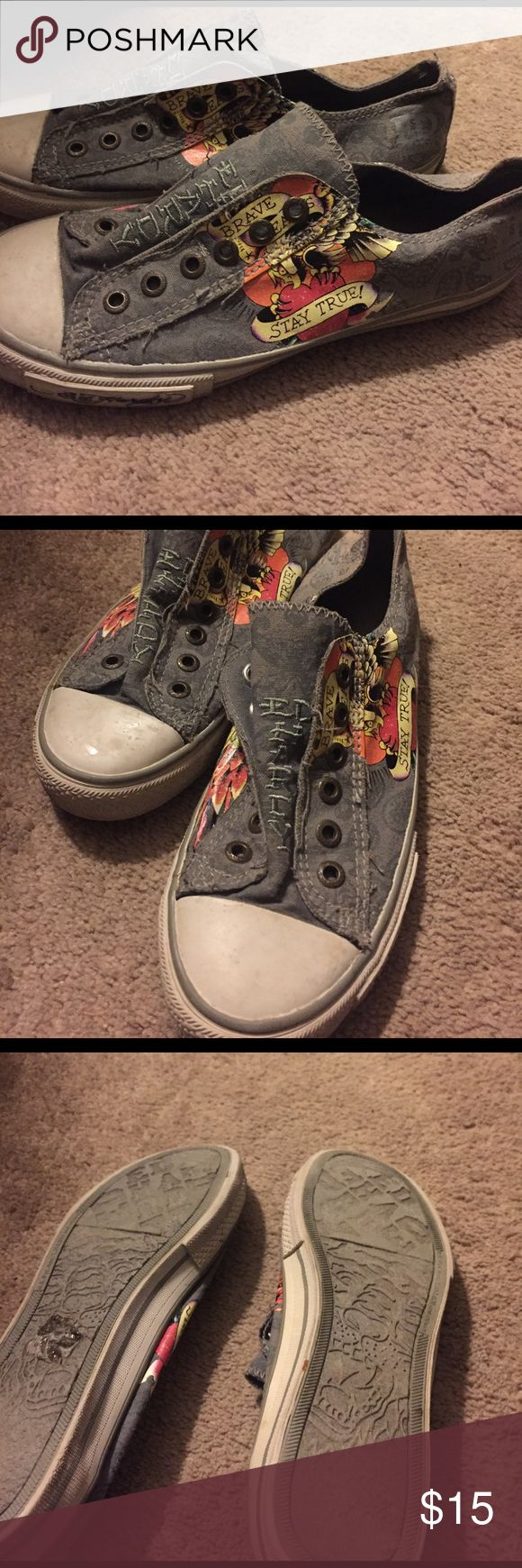 Ed Hardy converse style shoes Gray Ed Hardy converse syle shoes. In good shape and very comfy! Shoes Sneakers