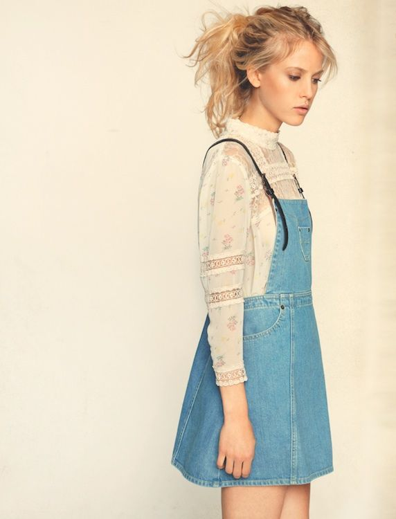 overall dress. vintage lace top.