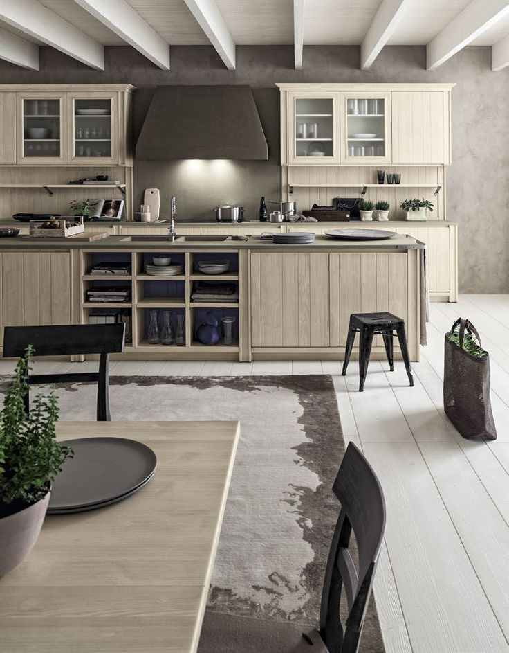 Cucina stile country moderno tutta in legno massello for Piani di casa di log in stile ranch