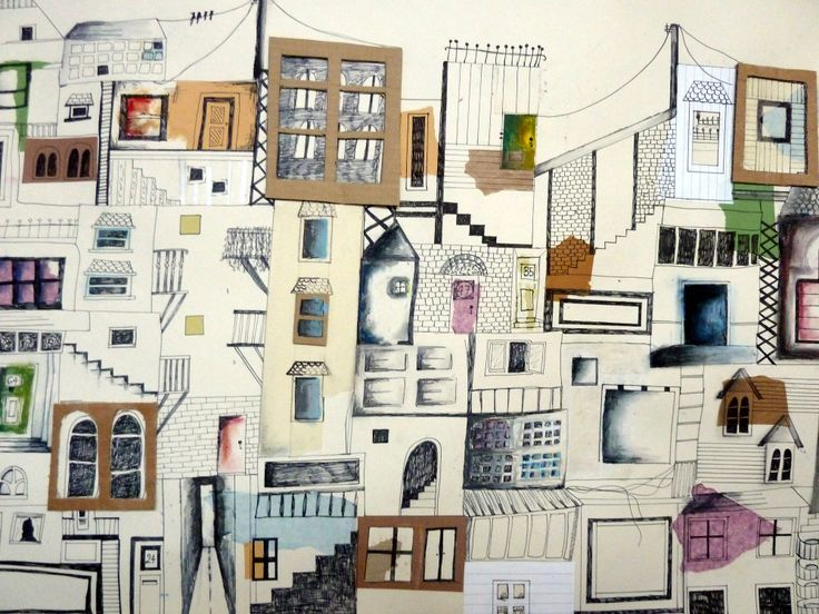GCSE Art final piece by pupil from Orleans Park School, Twickenham.  Title: Essence of the City