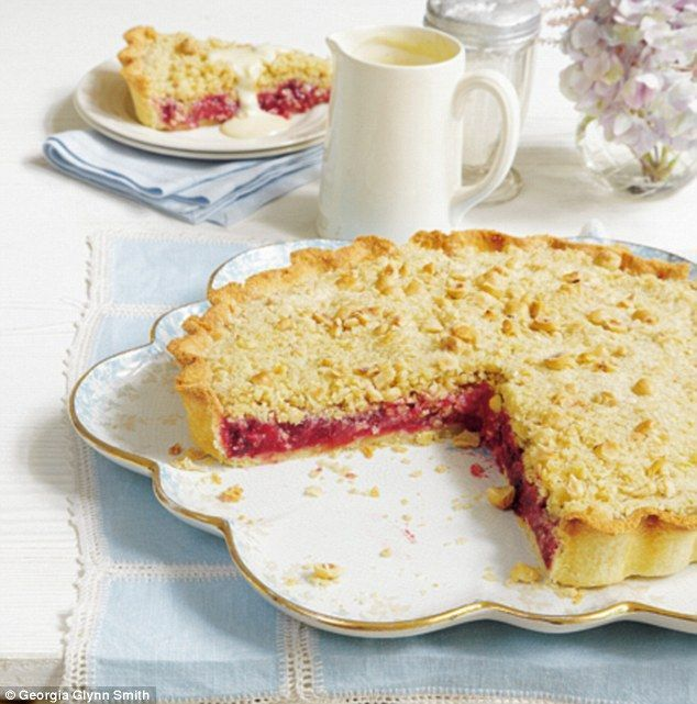 Winter Crumble Tart ~ combination apple & blackberry tart w/hazelnut & oat crumb topping ~ recipe from 'Mary Berry's Absolute Favourites' (pg 218)   via Daily Mail