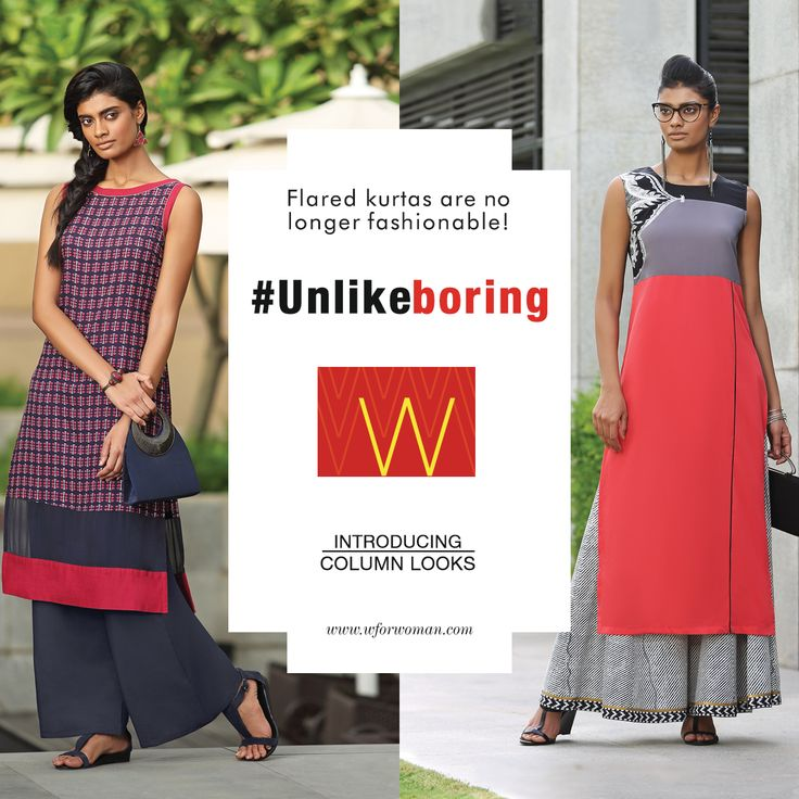 Keep monotony at bay, experiment with your look and be unique with this #columnlook from our #Unlikeboring collection. #WforWoman #fashion #shopping #kurta