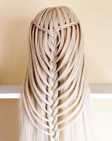 mermaid colored hair   Stunning prom & party waterfall braid hairstyles on matte blonde hair