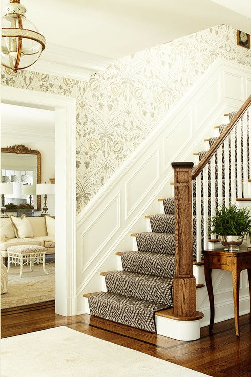 "Stairway with Lewis & Wood ""Chateau"" wallpaper and white wainscoting -- ML Interior Design"