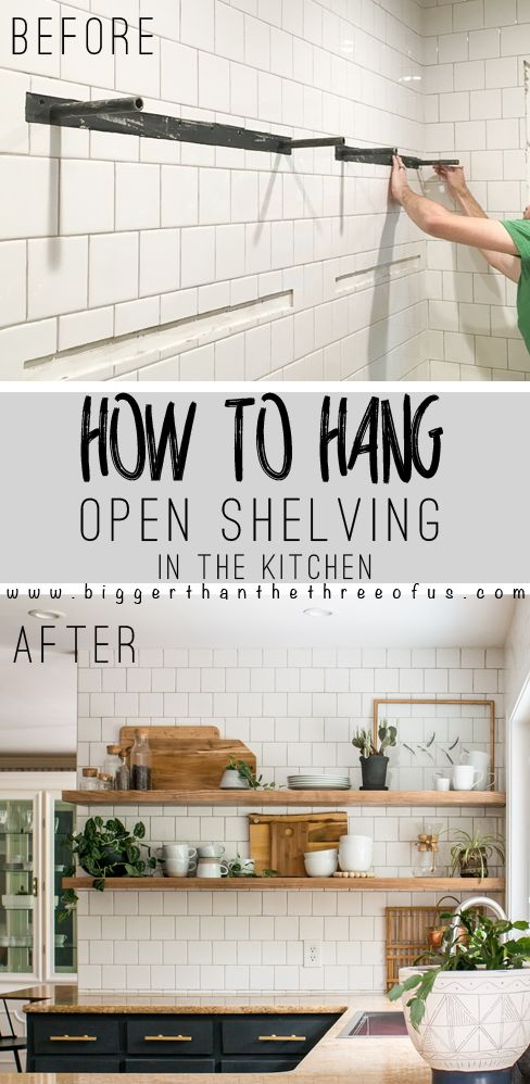 How to Install Heavy Duty Floating Shelves! Click to get the full kitchen tutorial!