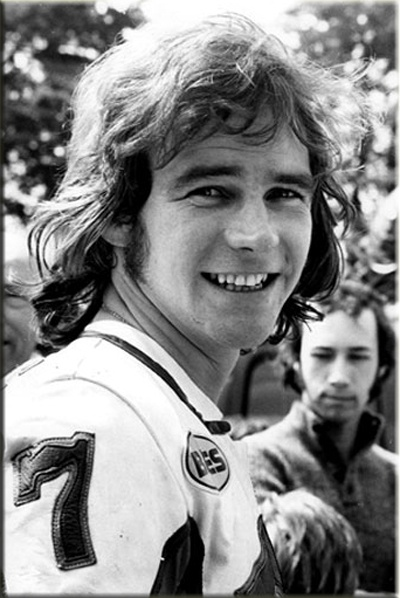 Barry Sheen drilled a hole through the front of his crash helmet so that he could smoke a cigarette at the start line.  How 70s is that! www.motorbikestunt.co.uk