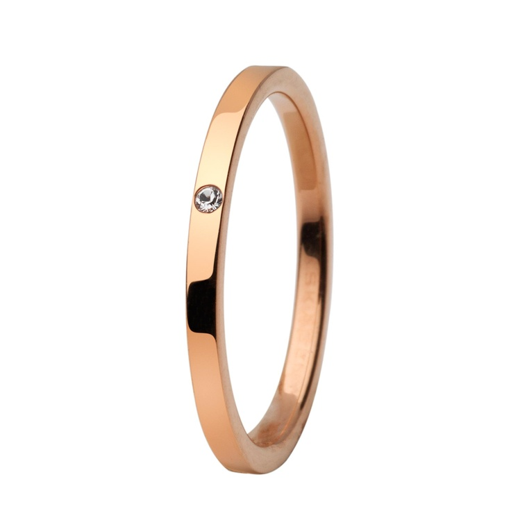 Danish company Skagen made beautiful (and reasonably priced) rings. This one is very simple, rose gold with one stone