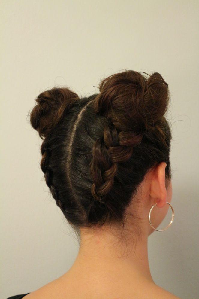 Tumblr braids in two hairbuns with dark hair.