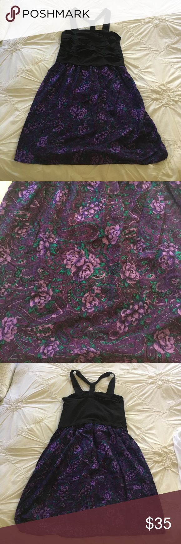 Urban Renewal Black and purple floral sundress. M Urban Renewal Black and purple floral sundress. M Tags are off but I never wore it. Urban Renewal Dresses Midi