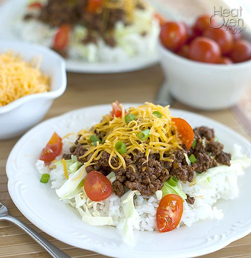 Taco Rice - seasoned beef over rice makes for a delicious and easy dinner.