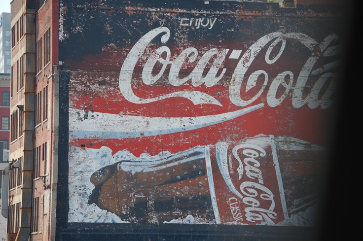 Giant coca cola mural on side of building in cincinnati for Coca cola wall mural