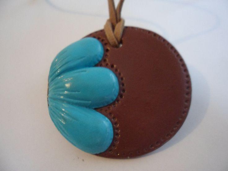 Teal flower necklace, fimo, handmade Necklace, craft Necklace, spring Necklace…