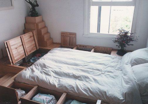 Bedroom : Alternative Bedroom Decor with Sunken Bed  - Creative Bedroom Design Ideas with Wooden Sunken Bed and Many Storage