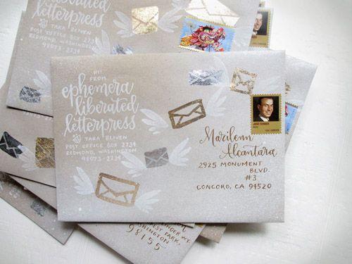 Whimsical calligraphy by ephemera liberated letterpress | http://junebugweddings.com