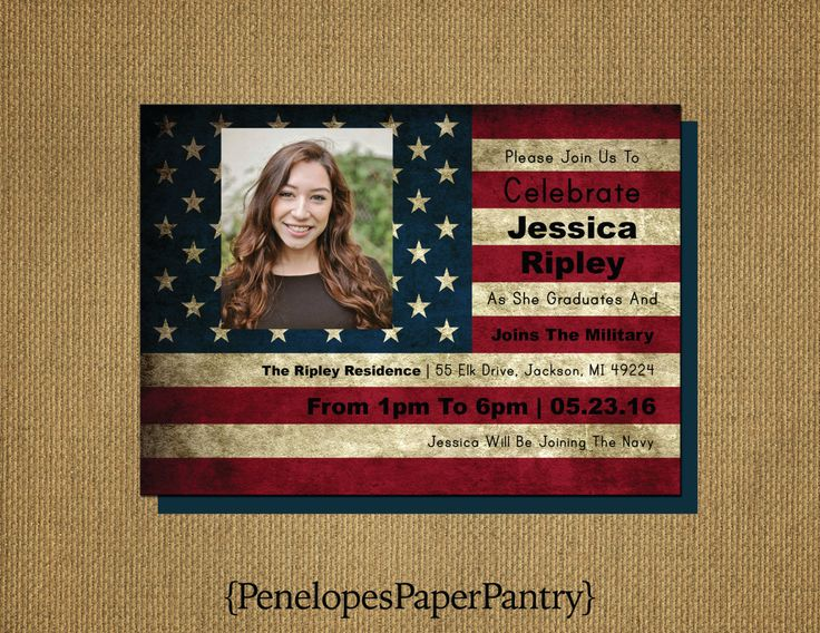 Military Going Away,Grad Invitation,Graduation Announcement,Flag,Patriotic,USA,1 Photo,High School,College Grad,Opt Back Print, Customize