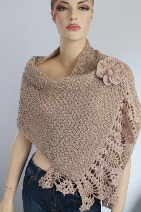 Light Beige Alpaca Hand Knit Crochet Shawl Wrap от levintovich