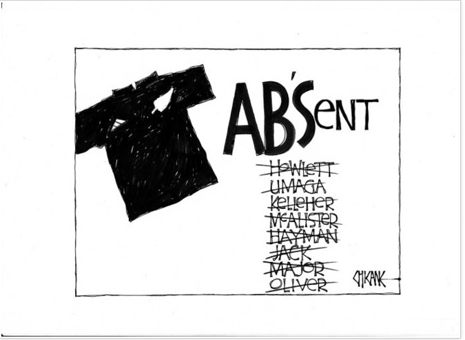 Shows an All Black shirt beside which is the word 'AB'Sent' and below a list of All Blacks who are not in the reshuffled All Black team selected by Graham Henry. The initial 'AB'S in the word 'absent' stands for 'All Blacks'. and each name in the list is crossed out. 29 May, 2008