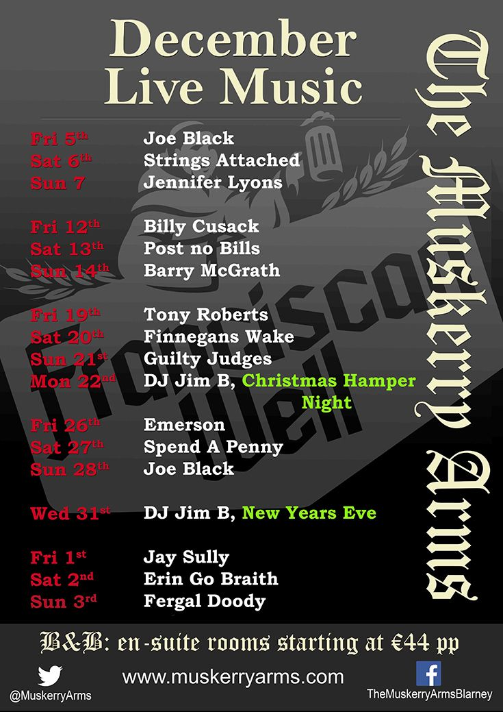 Live music at Muskerry Arms for December 2014.