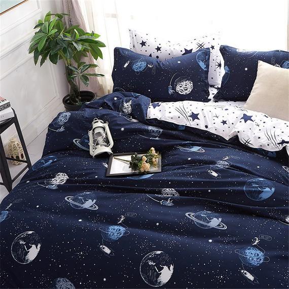 Kids Duvet Set Stars Galaxy Planets Duvet Cover Navy Blue Etsy In 2021 Duvet Cover Sets Star Bedding Kids Duvet Set