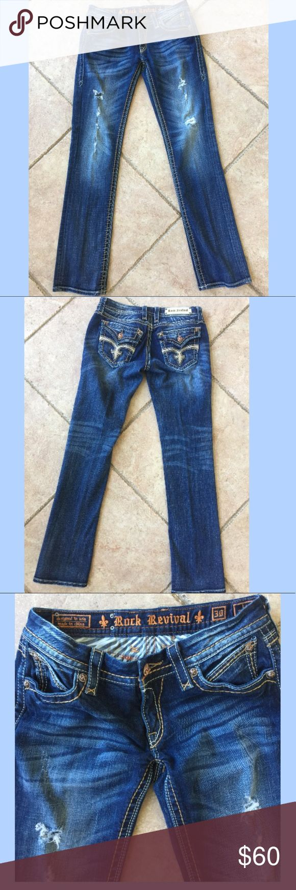 "Beautiful Rock revival women's  jeans size 30 Wash - T4 34"" Inseam 8"" Rise 98% cotton 2% elastane 16""in the knee and 16""at the leg opening Whiskering along front pocket and backs of knees Fading along front of pant and back pockets Distressing throughout pant Leather detail along back pockets Back flap pockets with button closure Rock Revival Pants Straight Leg"