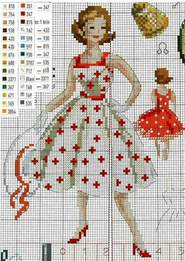 50's lady cross stitch pattern
