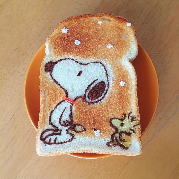 Snoopy & Woodstock winter toast art by (@fuki_kuma0036)