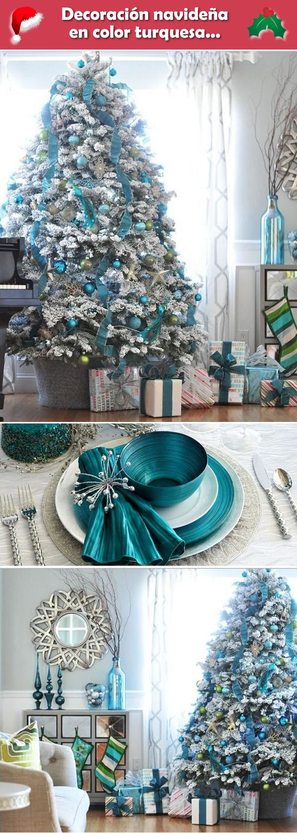 Decoración navideña en color turquesa. Navidad turquesa. Decoración navideña en color azul.