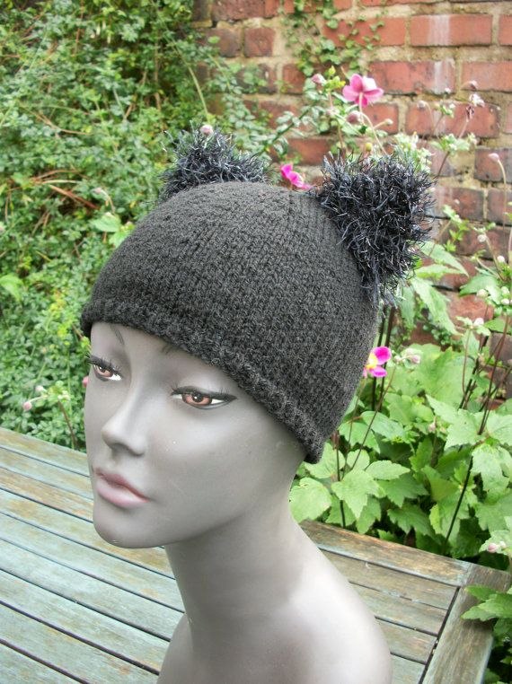 Black Kitty Cat beanie hat with furry by thekittensmittensuk, $22.00