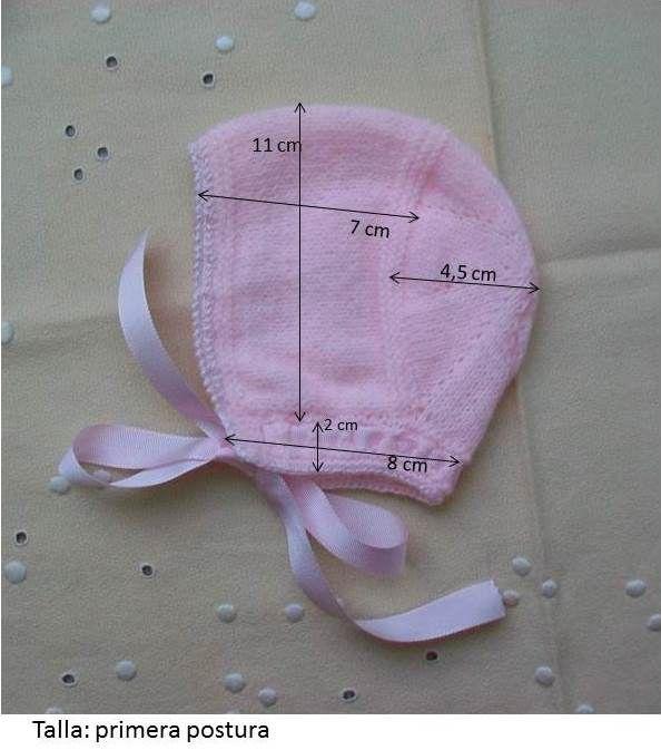 """GORRITO DE BEBÉ DE PRIMERA POSTURA DE LANA ROSA Material Lana de bebé color rosa """"Ofil"""". Hilo rosa bebé del nº 5. Agujas de p..."""