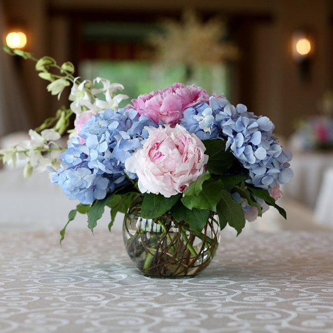 The centerpieces with peonies and hydrangeas wedding