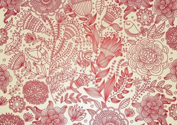 Inspiration Flowers And Henna Designs Vintage Wallpaper