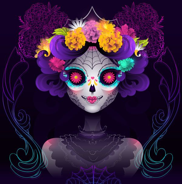 How to Make a Neon Calavera Girl Vector Portrait in Adobe Illustrator
