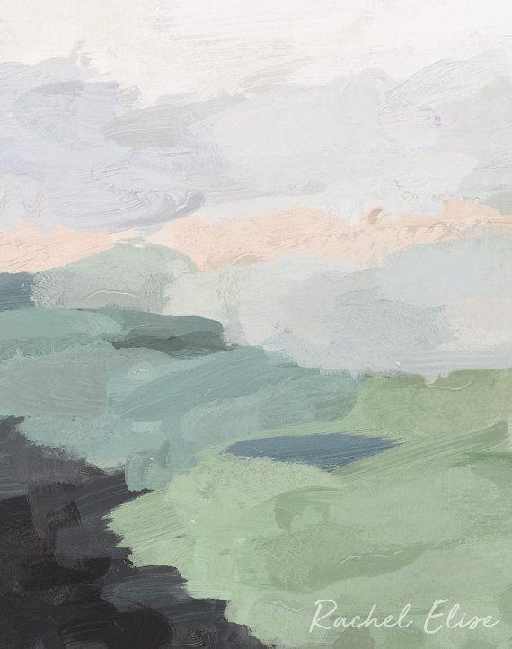 Seafoam Green Mint Black Blush Pink Abstract Nature Land Wall Art