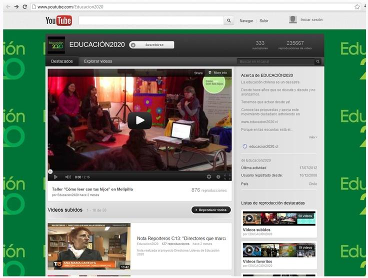 Youtube: http://www.youtube.com/Educacion2020 . Actualmente, la organización cuenta con 50 videos, 333 seguidores y la última actividad se registra el 17 de julio de este año. La cuenta está activa desde el 10 de diciembre de 2008.