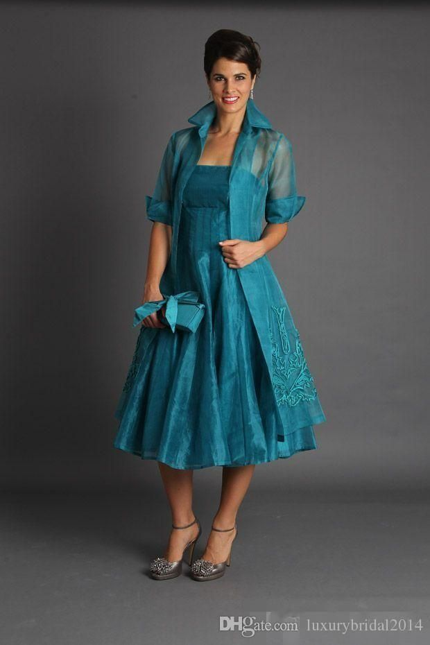Plus Size 2015 Short Mother of The Bride Jacket Dresses With Long Sleeves Tea Length Groom Blue Green Suits Evening Gowns Organza