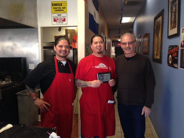 Owner's Miuler and William Reyes of El Salvadoreno Restaurant in Pittsburg, CA. receive their Chamber of Commerce plaque from Chamber CEO Harry York. Welcome to Pittsburg Chamber Family!