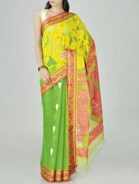 Lime Minakari Cotton Silk Tangail Saree